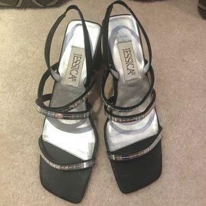 Jessica Black & Silver Sandals
